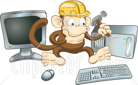12380-Cute-Monkey-In-A-Hardhat-Working-On-A-Computer-To-Construct-A-Website-Clipart-Illustration